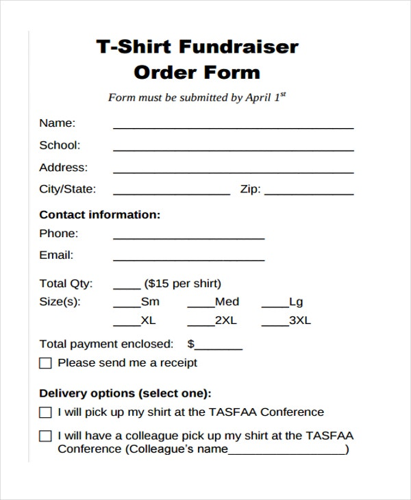 Fundraiser-T-shirt-Order T Shirt Order Form Template Blank on google sheets, excel free, word document,