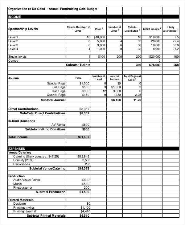 12  fundraising budget templates