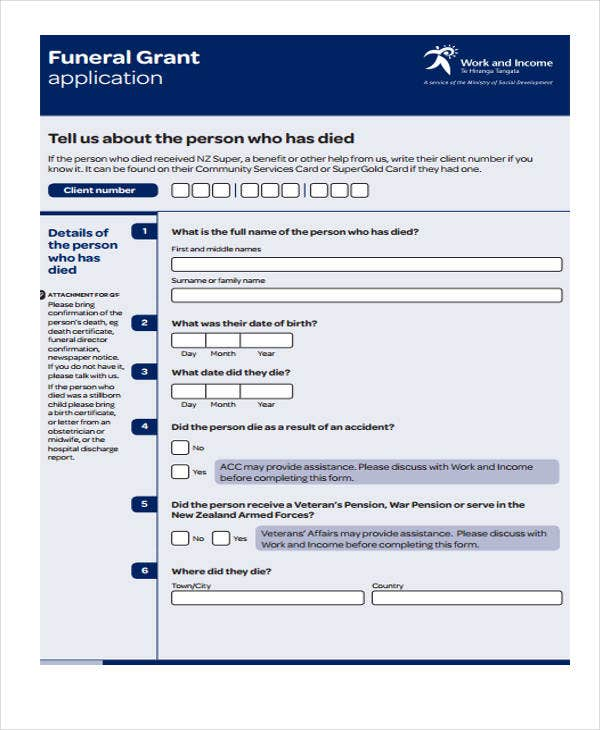 funeral grant application