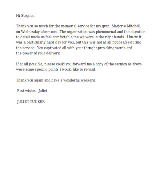 funeral service thank you letter