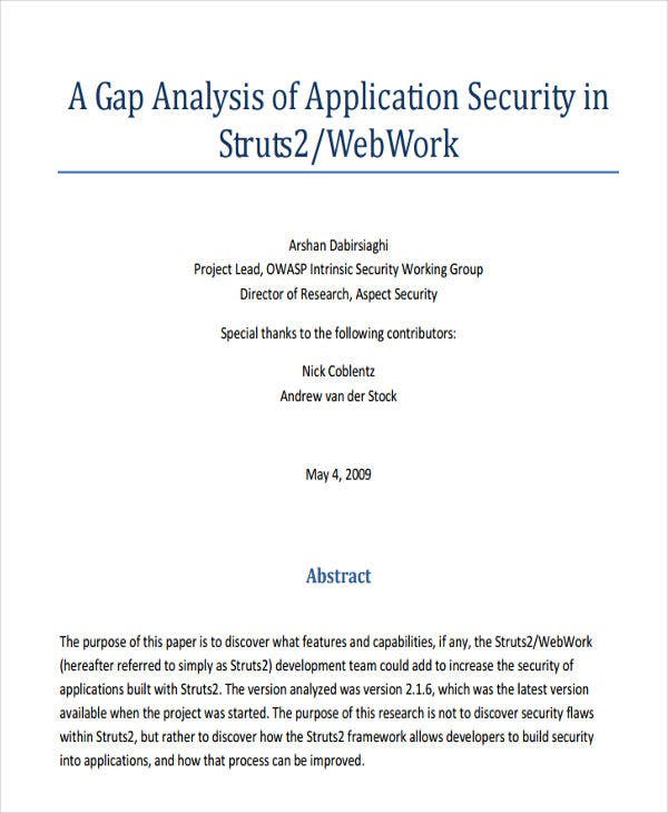 gap analysis for security application