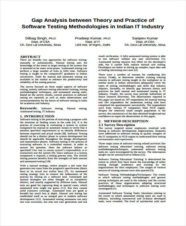 gap analysis for software testing