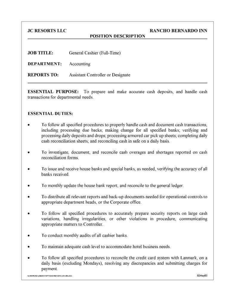 general cashier sample job description free download page 001 788x1020