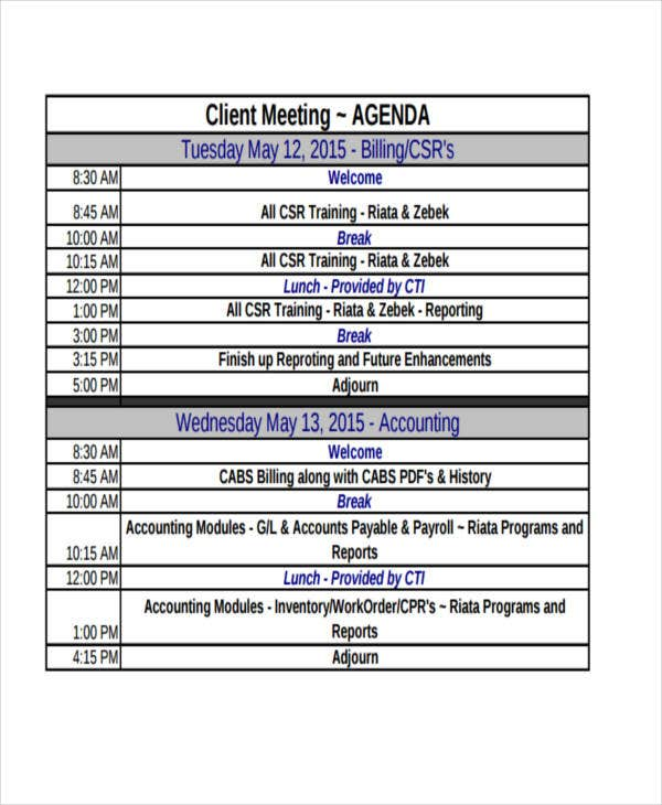 general client meeting agenda
