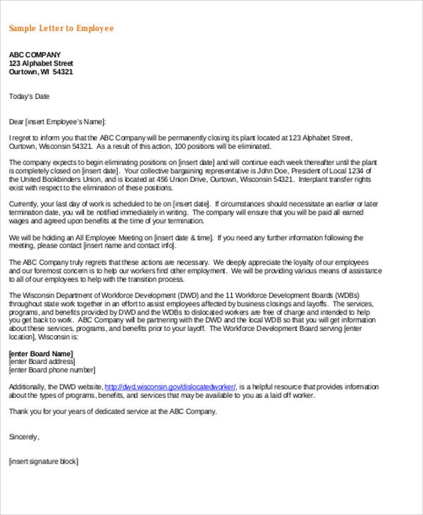 general employee service letter