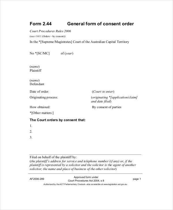 Consent Order Forms  Free Samples Examples Format Download