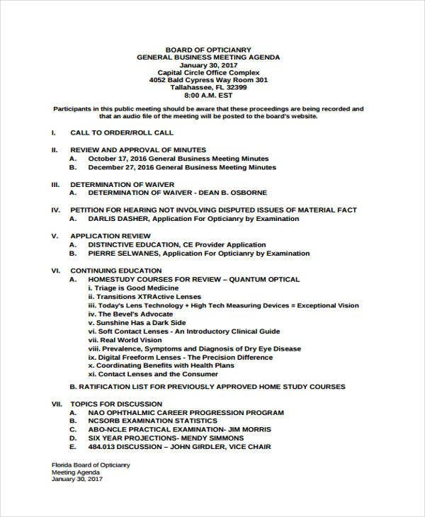 general meeting agenda for business