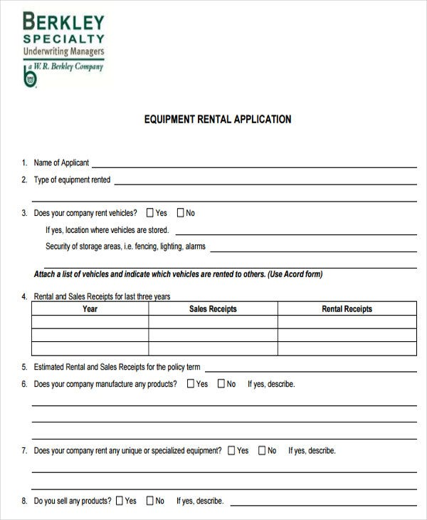 general rental application for equipment