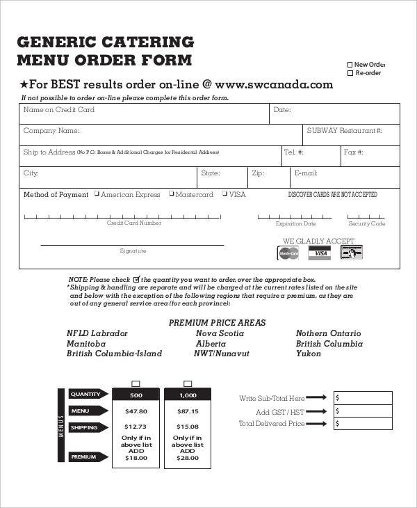 Catering Order Form Quality Indicators Of Catering Services In A