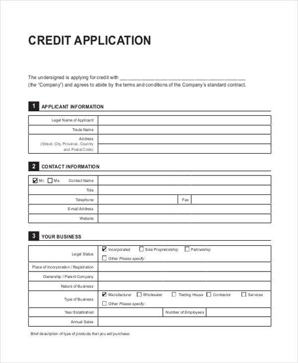 Generic-Credit-Application Job Application Form Free Printable on