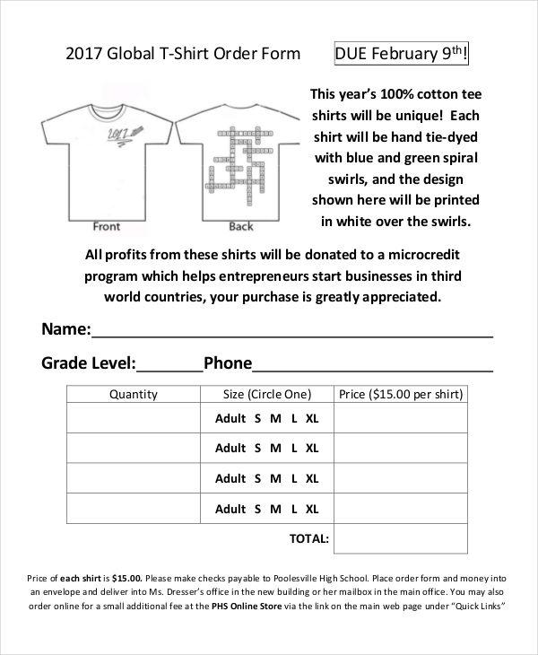 global t shirt order