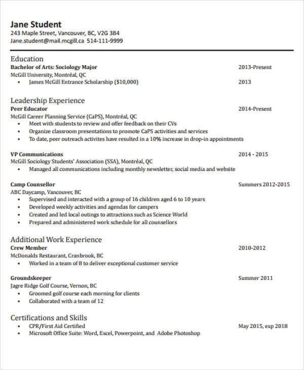 graduate application cv