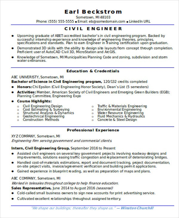 graduate civil engineer resume sample