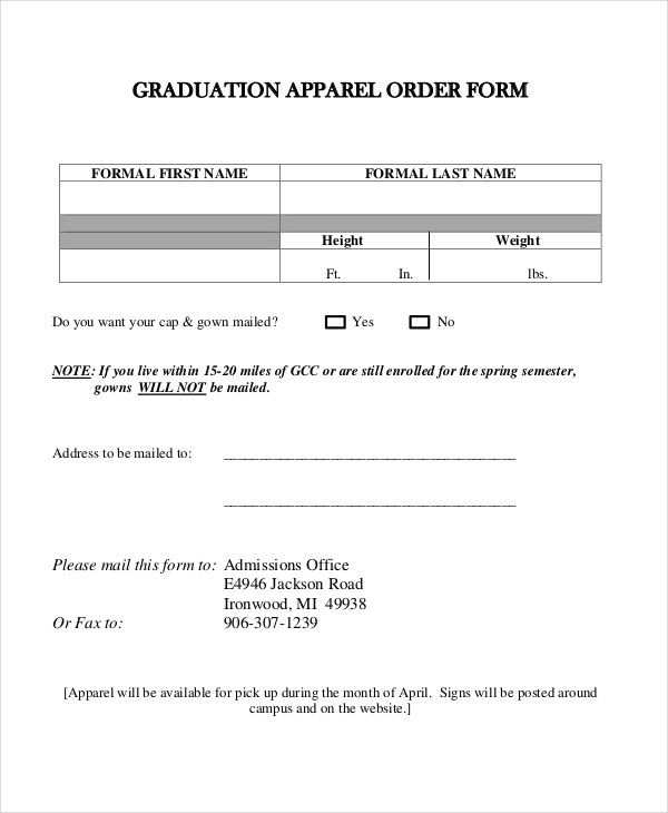 graduation apparel order