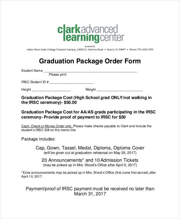 graduation package order