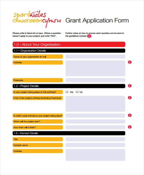 grant application example