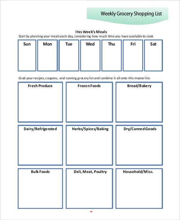 Printable Shopping List Templates  Free Samples Examples