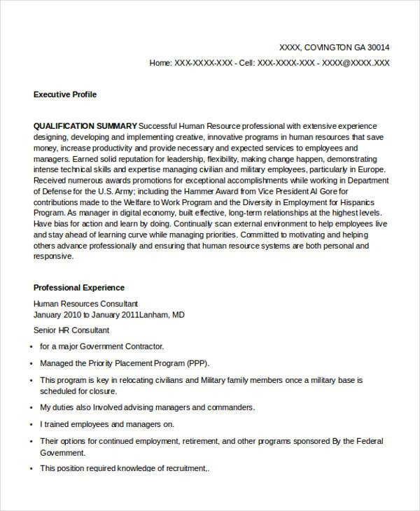 hr consultant resume