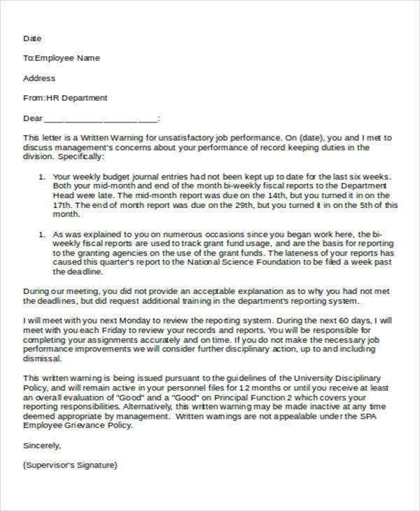 hr first warning letter