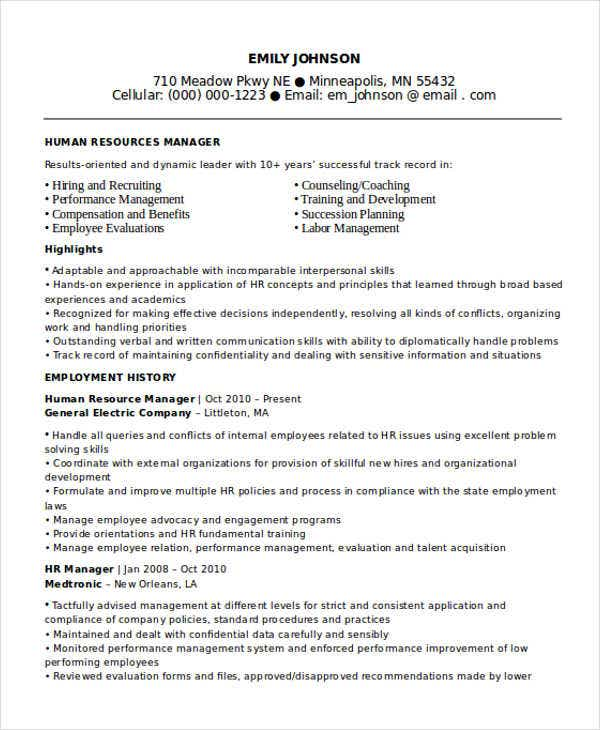 hr manager resume1