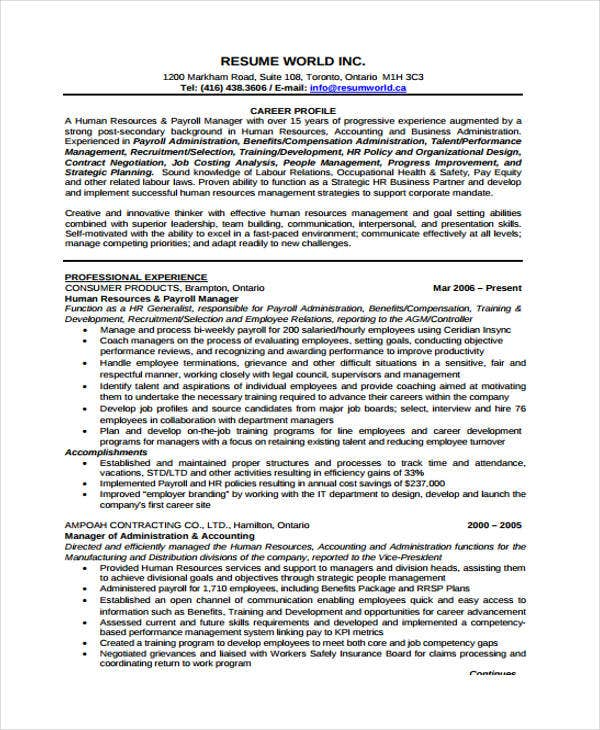 hr resume example