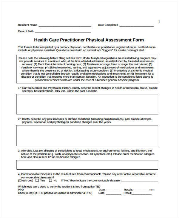 Sample Assessment Forms  Free  Premium Templates