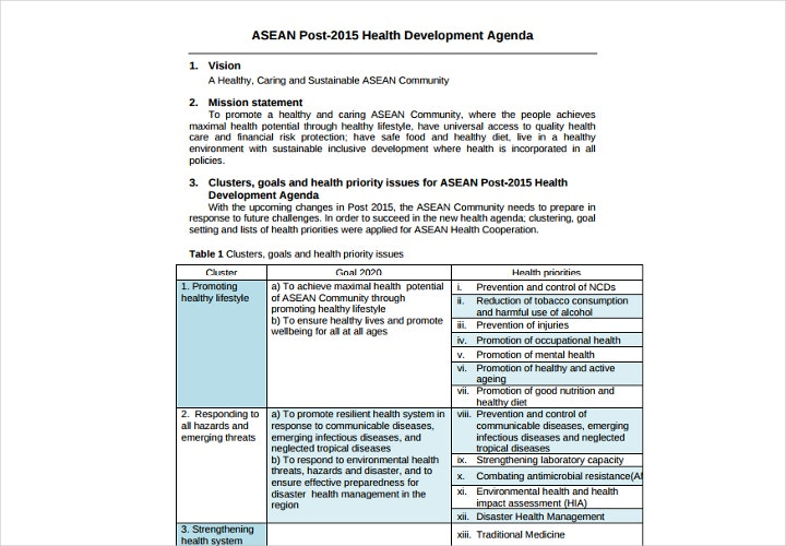health development agenda