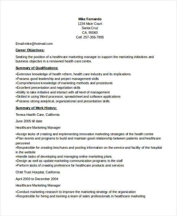 healthcare marketing manager resume1