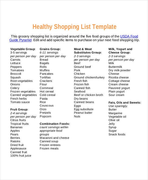 Food Shopping List Templates  Free Samples Examples Format