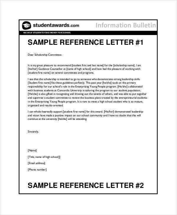 sample recommendation letter for student 7 student reference letter templates free samples 1598