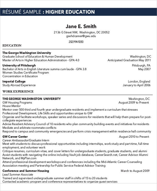 14  education resume templates in word