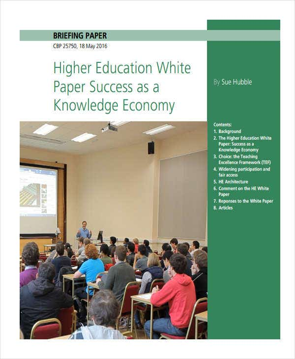 higher education white paper