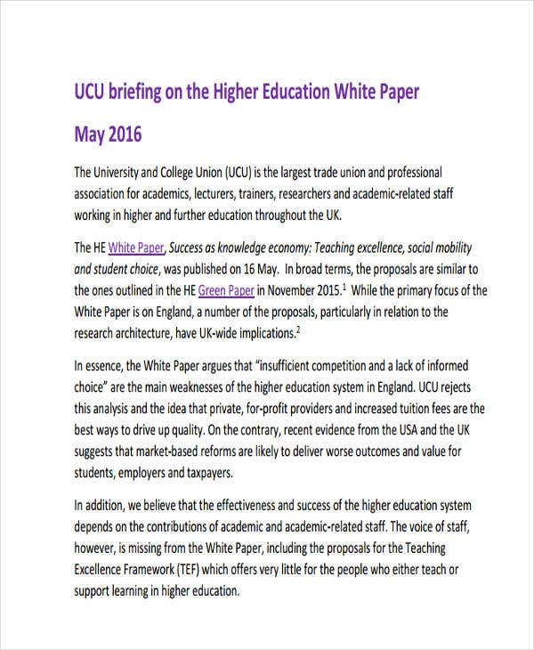 higher education white paper1