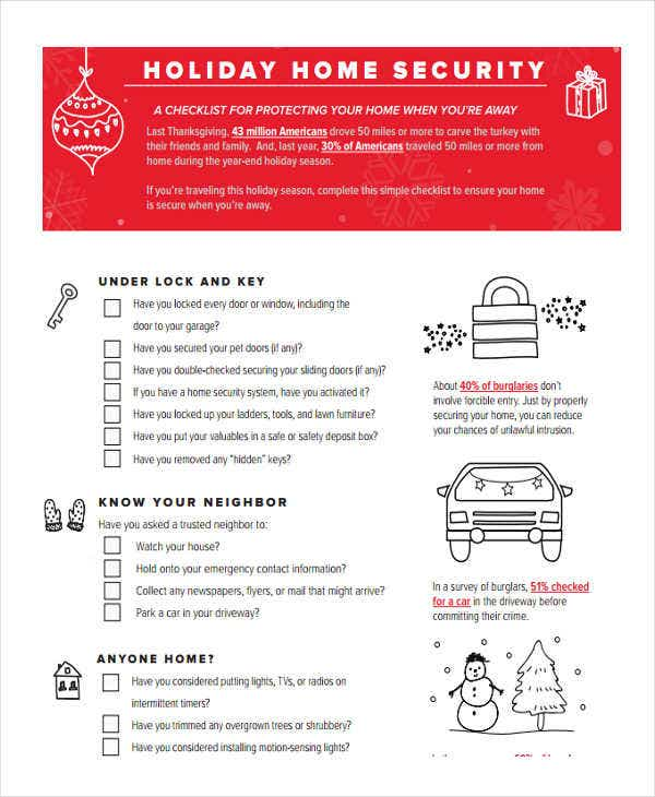 holiday home security checklist