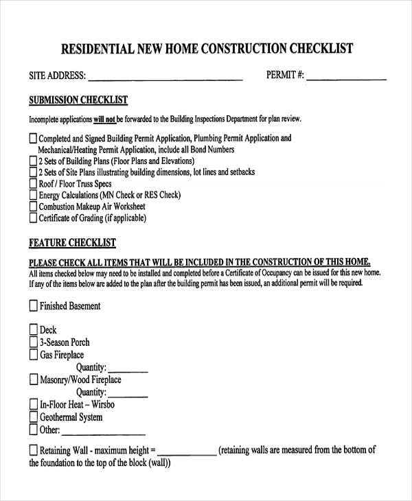 9 construction checklist templates free samples for Contractor checklist for building a house