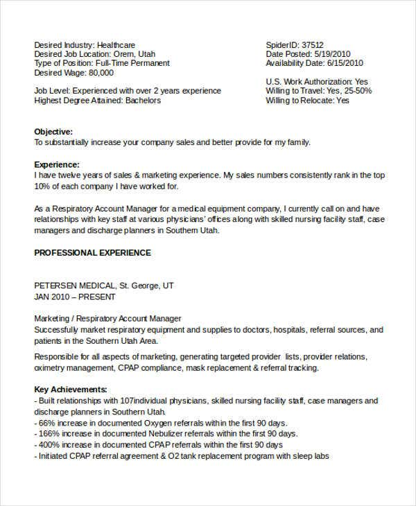 home healthcare marketing resume