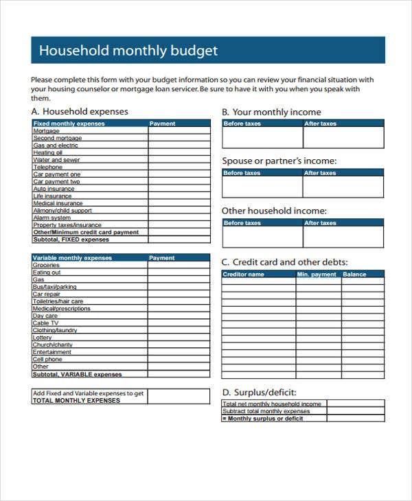 home monthly budget
