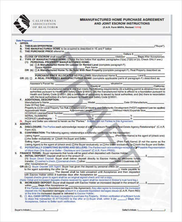 Purchase Agreement Forms