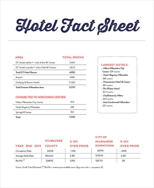 hotel fact sheet