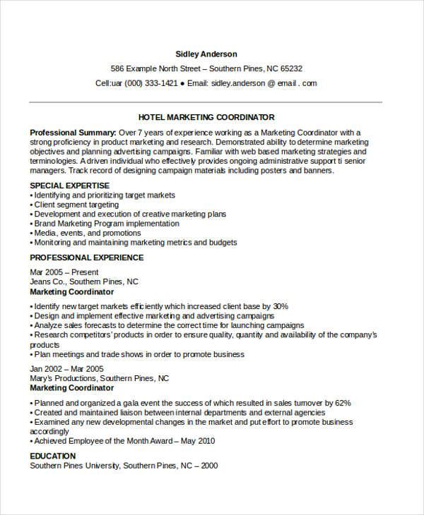 hotel marketing coordinator resume