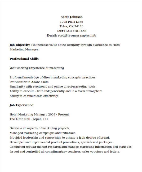hotel marketing manager resume
