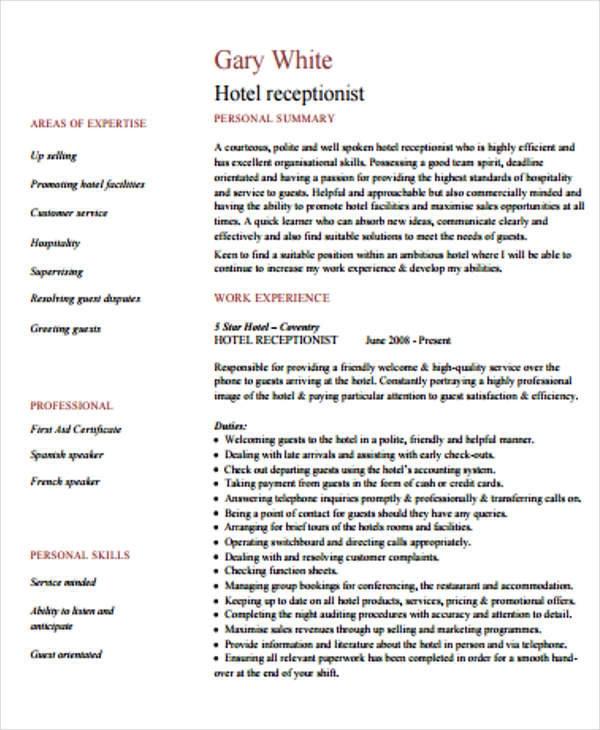 hotel receptionist cv template