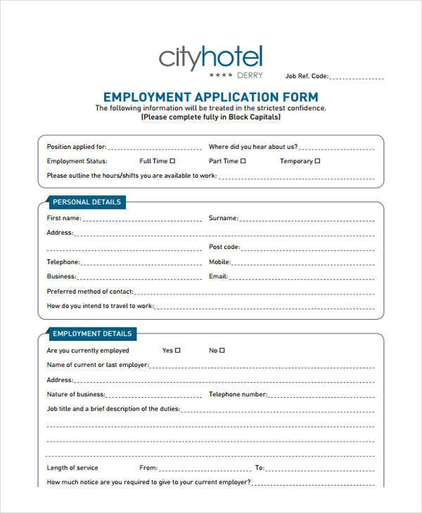 hotel receptionist job application