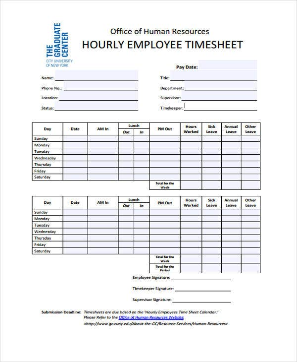 hourly employee timesheet