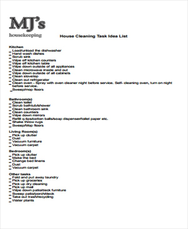 house cleaning task list