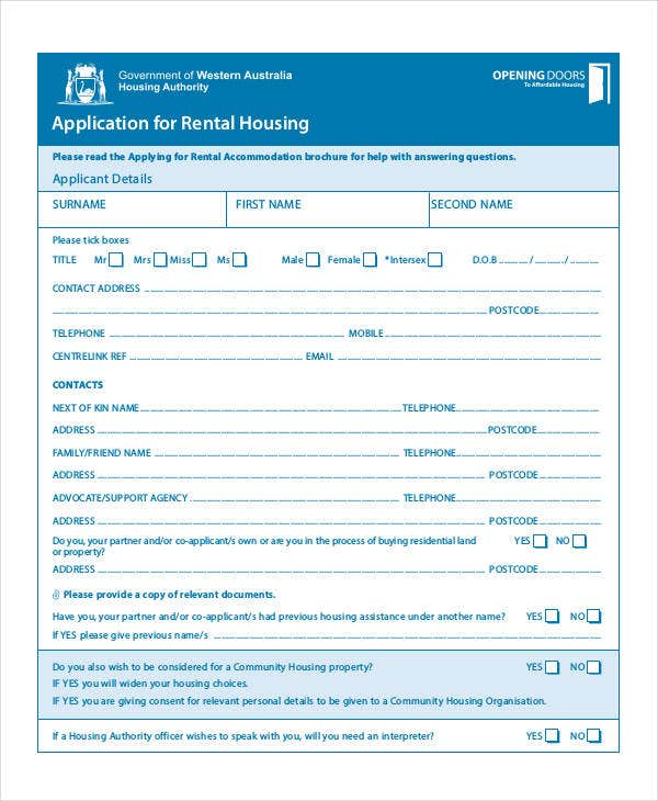 housing application template - 41 application templates in pdf free premium templates
