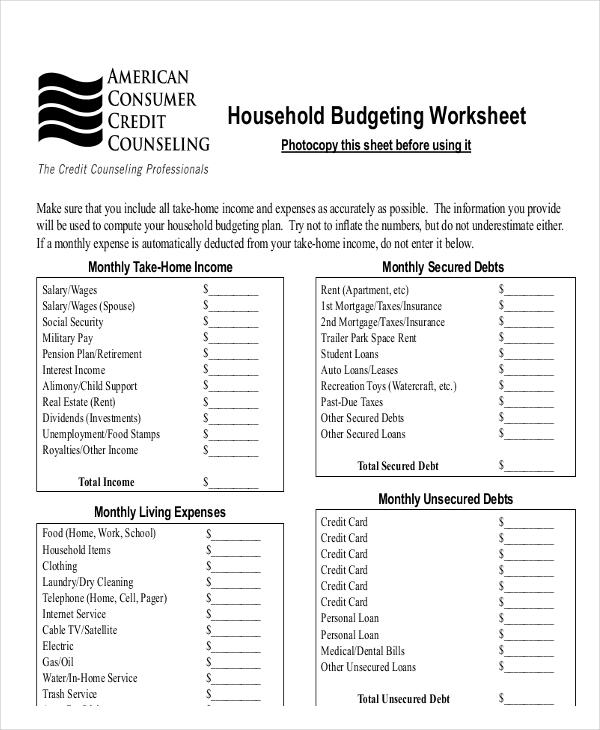 household blank expense sheet