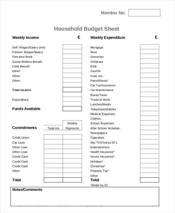 household budget sheet1