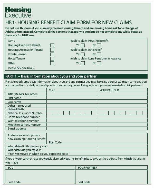 Housing Benefit Application
