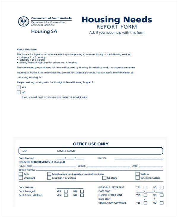 housing needs assessment report